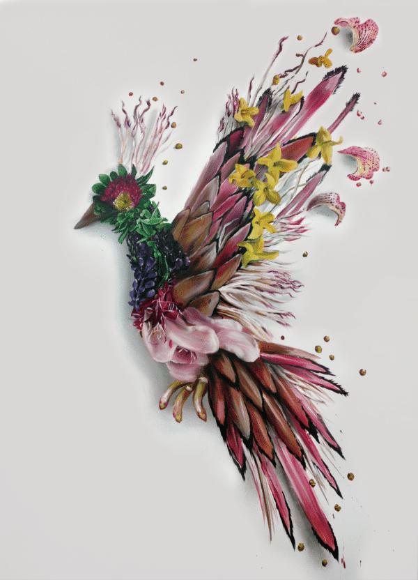 Print Flower Bird 002