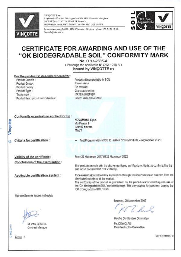 certificaat volledig biologisch afbreekbare hoes pdf